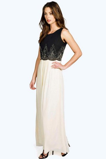 Black Boutique Kaya Embellished Chiffon Maxi Dress