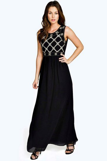 Black Boutique Louise Embellished Top Chiffon Maxi Dress