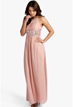 Blush Embellished Lace Chiffon Maxi Bridesmaid Dress