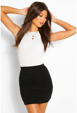 Black Basic Jersey Mini Skirt