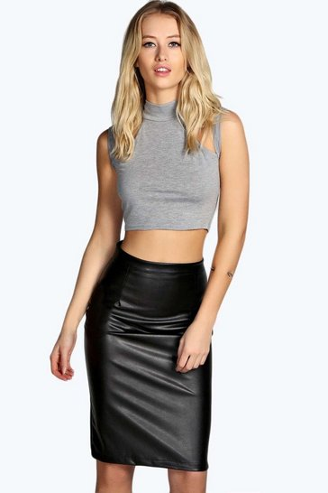 Black Marisa Faux Leather Pencil Skirt
