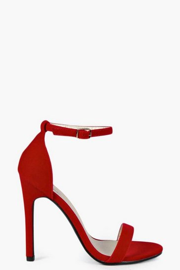 Red Suedette Skinny Barely There Heels