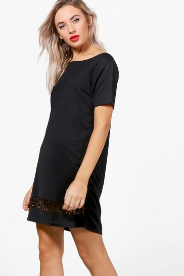 Black Laser Cut Shift Dress
