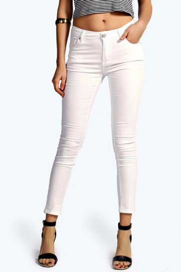 White Evie Low Rise Ankle Grazer Jeans