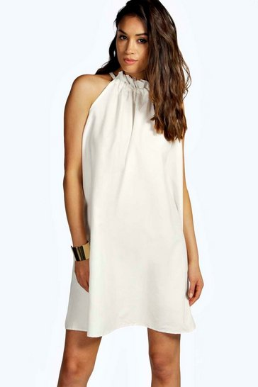 Ivory white Carly Woven Drawstring Neck Trapeze Dress