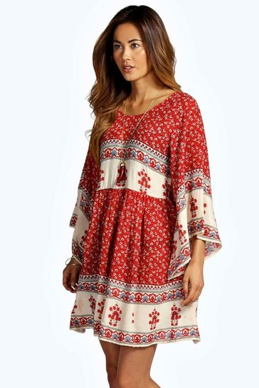 Multi Becca Batwing Border Smock Dress