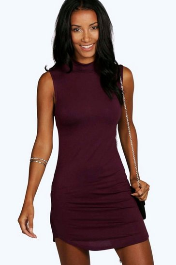 Berry red Mel High Neck Curved Hem Bodycon Dress