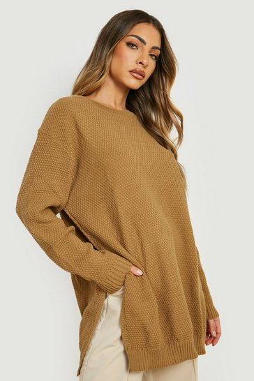 Camel Side Split Moss Stitch Tunic Jumper