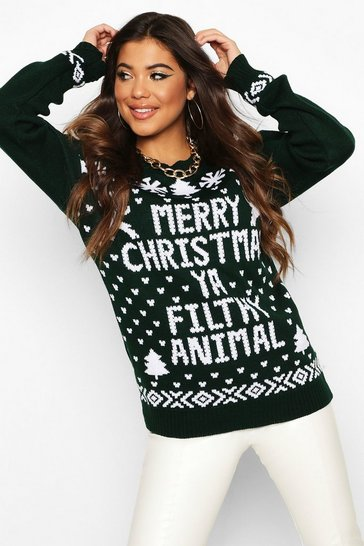 Bottle green Filthy Animal Christmas Jumper