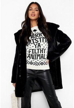Cream white Filthy Animal Christmas Jumper