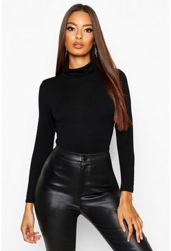 Black Basic Turtle Neck Long Sleeve Top