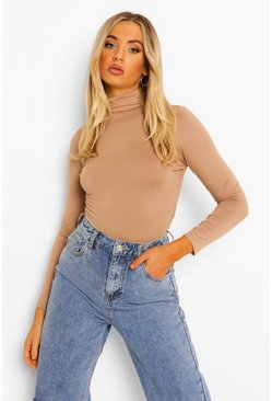 Camel beige Basic Turtle Neck Long Sleeve Top