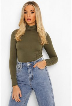 Khaki Basic Turtle Neck Long Sleeve Top