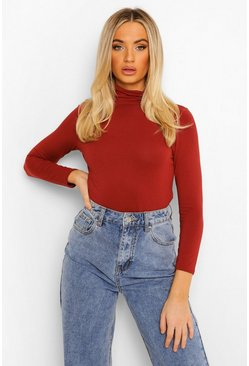 Rust Basic Turtle Neck Long Sleeve Top