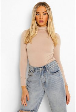 Sand Basic Turtle Neck Long Sleeve Top