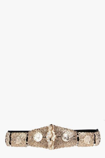 Gold metallic Textured Metal Plate Waist Belt