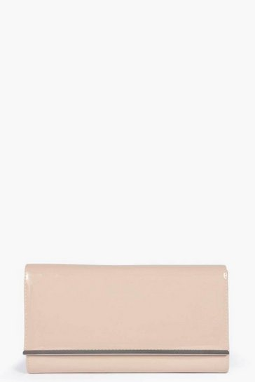 Nude Jasmine Patent Clutch Bag