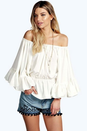 White Betsy Off The Shoulder Frill Detail Top