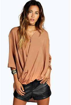 Tan brown Edie Wrap Front 3/4 Sleeve Blouse