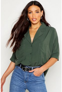Khaki Revere Collar Oversized Shirt