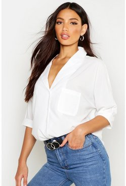White Revere Collar Oversized Shirt