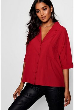 Wine red Revere Collar Oversized Shirt