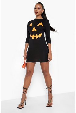 Black Pumpkin Print Halloween Bodycon Dress