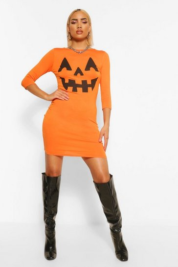Orange Pumpkin Print Halloween Bodycon Dress