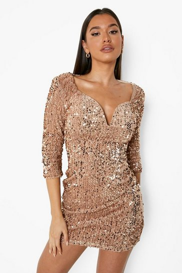 Nude Sequin Bodycon Dress
