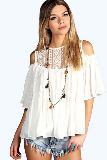 White Elsa Lace Insert Cold Shoulder Pleated Smock Top