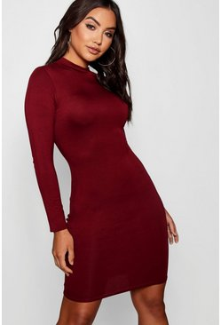 Berry High Neck Bodycon Dress