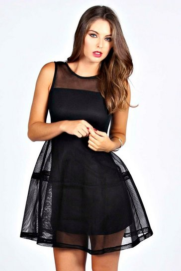 Black Larah Lantern Net Dress