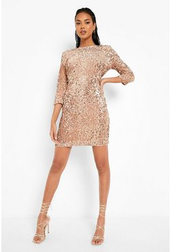 Nude Sequin Long Sleeve Bodycon Dress