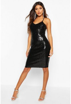 Black Sexy Sequin Strappy Midi Dress