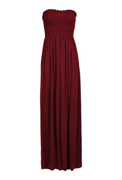 Berry Shirred Bandeau Maxi Dress