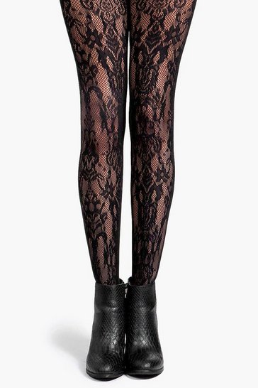 Black Deena Paisley Net Tights