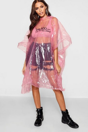Pink Disposable Showerproof Festival Poncho Non Refundable