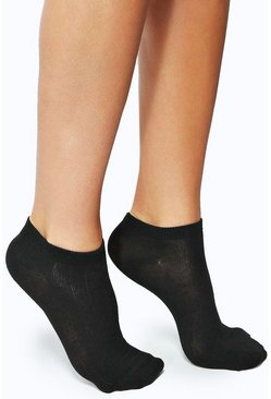 Black Trainer Socks 3 Pack
