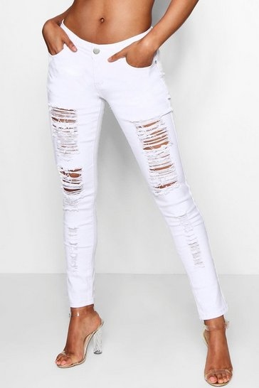 Mid Rise White Ripped Jeans