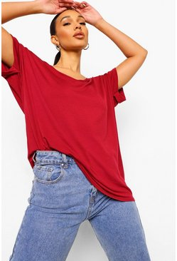 Berry red Oversized Boyfriend V Neck T-Shirt