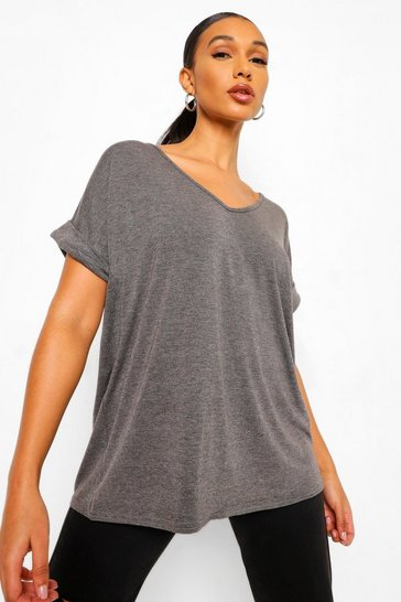 Charcoal grey Oversized Boyfriend V Neck T-Shirt