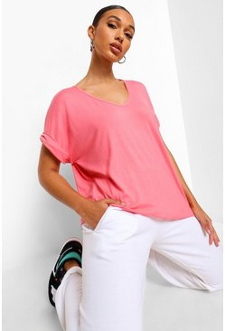 Coral Oversized Boyfriend V Neck T-Shirt