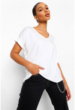 Cream white Oversized Boyfriend V Neck T-Shirt