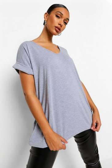 Grey marl grey Oversized Boyfriend V Neck T-Shirt