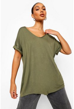 Khaki Oversized Boyfriend V Neck T-Shirt