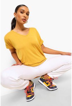 Mustard yellow Oversized Boyfriend V Neck T-Shirt