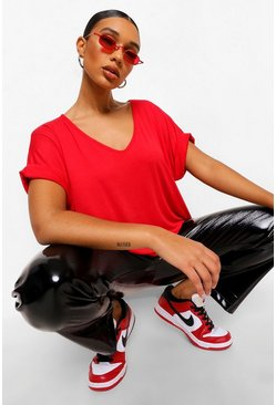 Red Oversized Boyfriend V Neck T-Shirt