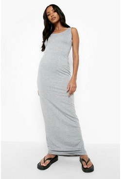 Grey marl grey Petite Sandy Scoop Neck Maxi Dress