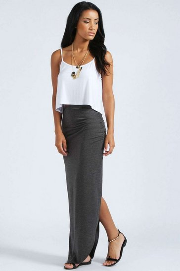 Charcoal Petite Michelle Viscose Maxi Skirt