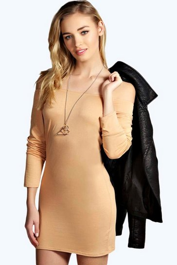 Camel beige Alice Off The Shoulder Long Sleeve Bodycon Dress